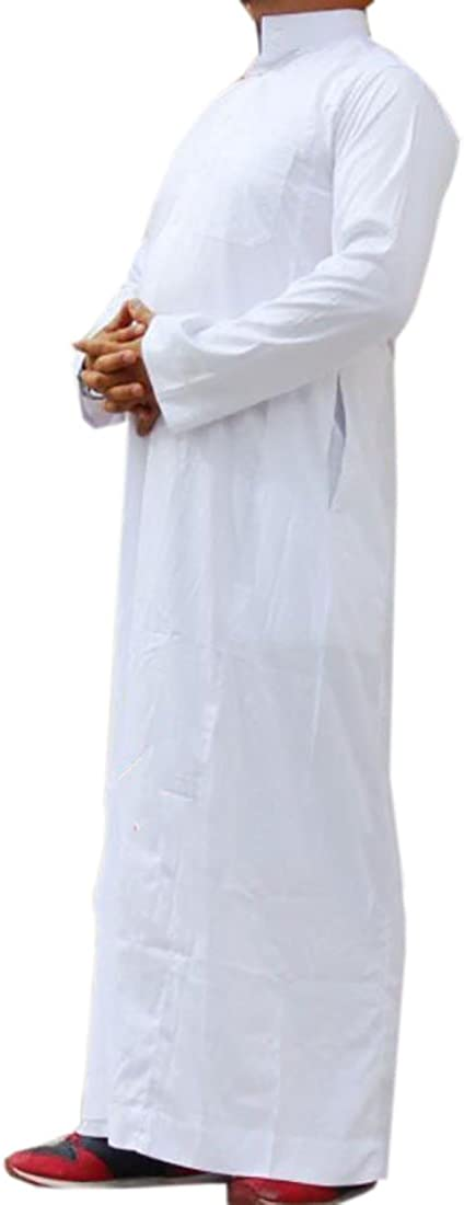 JXG-Men Casual Muslim Business Saudi Arabic Thobe Long Sleeve Dress Shirts