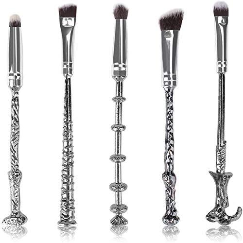 Ensemble de pinceaux de maquillage, 5 pièces ensemble de pinceaux de maquillage baguette magique à manche en métal