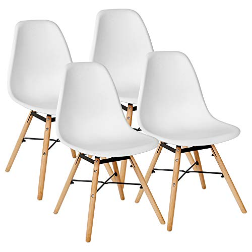 Kingpower 4 Set Stühle Esszimmerstühle Stuhl Sessel Retro Weiß