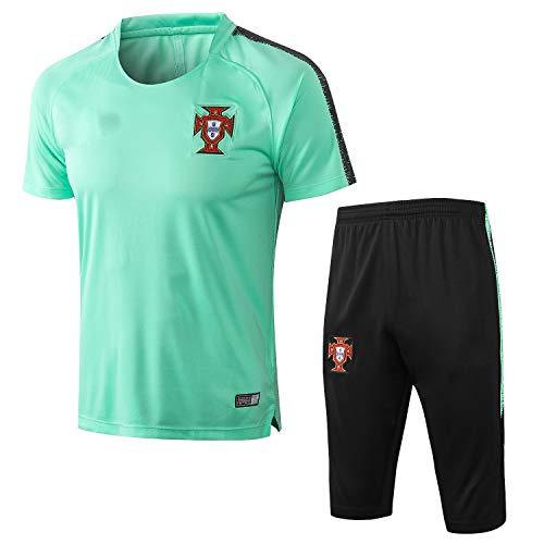 PARTAS Short Sleeve Trainingsanzug Portugal Football Wear Verein Uniform Wettbewerb Anzug Herren-Geschenk-Ausrüstungs-T-Shirt Männer Jersey 2 Stück Sets (Size : M)