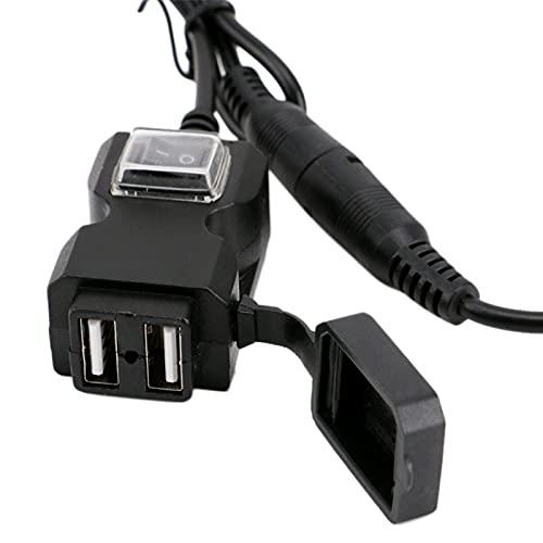 Varadyle Motocicleta Dual USB 12-24V Cargador Impermeable Moto Manillar Adaptador de TeléFono Toma de Fuente de AlimentacióN con Interruptor de Encendido
