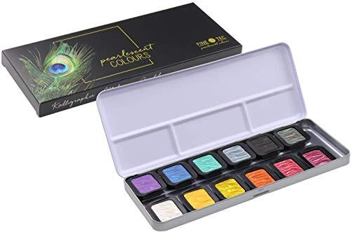 Finetec 12 unidades en caja de metal y comedero de color de 30 mm, Goma arábiga, pigmentos, 1
