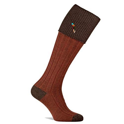 Pennine Dartmoor Socken / Strümpfe aus Merinowolle mit Federstickerei Gr. XL, mokka