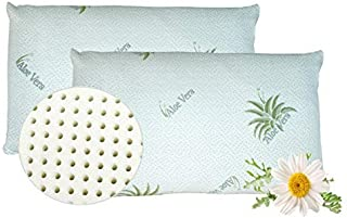 venixsoft Lot de 2 oreillers pour Le lit Ergonomique pour Le lit à mémoire de Forme avec taie d'oreiller en Aloè, Orthopéd...