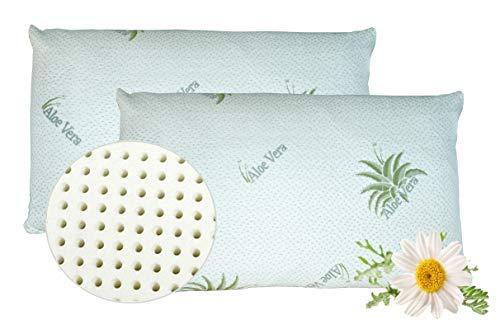 venixsoft Lot de 2 oreillers pour Le lit Ergonomique pour Le lit à mémoire de Forme avec taie d oreiller en Aloè, Orthopédique Anti-Cervical Hypoallergénique Anti-ronflements, fabriqué en Italie