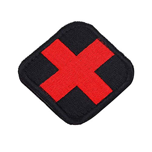 Fdit Parche bordado de cruz médica con gancho y bucle, para decoración de ropa, bolso, uniforme, abrigo, sombreros (marrón)