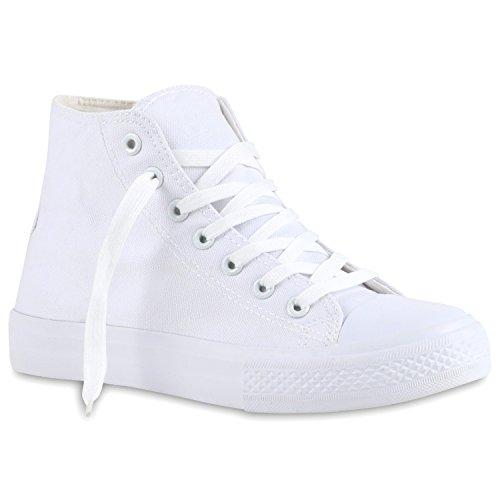 stiefelparadies Sportliche Damen SneakersStoff Camouflage Schnürer Sneaker High Neon Sport Schuhe 118973 Weiss Weiss 38 Flandell