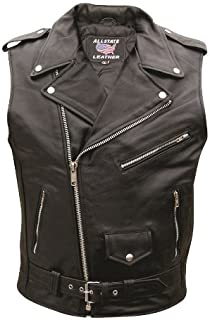 Mens Buffalo Hide Motorcycle Sleeveless Jacket - 48 - AL 2012