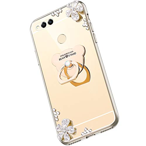 Saceebe Compatible avec Huawei Honor 7X Miroir Coque Luxe Placage Clear View Transparent Gel Silicone TPU Souple Etui Bling Paillette Glitter Strass Diamant Anneau Support Bague,Or
