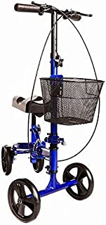 Medical Knee Scooter for Broken Foot by HEALTHLINE, Knee Walker Scooter with Handle Brake and Basket, Crutch Alternative, Steerable, All Terrain Knee Scooter, Blue