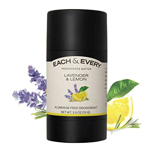 Each & Every All Natural Aluminum Free Deodorant for Women and Men, Cruelty Free Vegan Deodorant with Essential Oils, Non-Toxic, Paraben Free, Lavender & Lemon, 2.5 Oz.