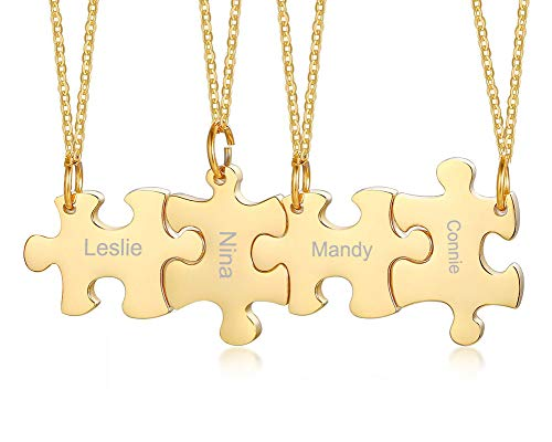 Mealguet Jewelry Personalized Gold Plated Stainless Steel Puzzle BFF Best Friend Friendship Necklace Sets for 3/4/5