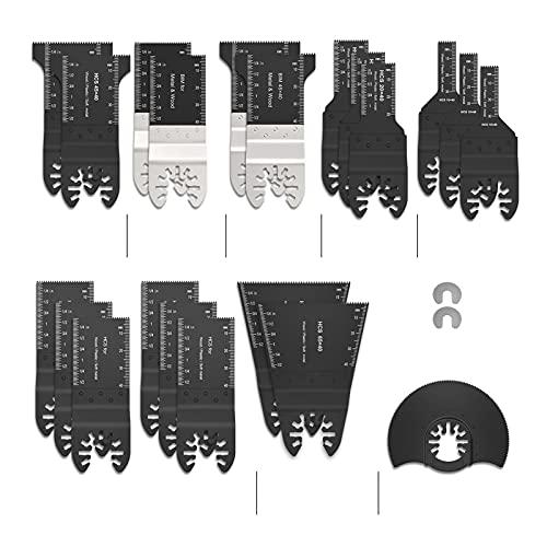 Accesorios para herramientas Hojas de sierra oscilante Herramienta de Multítimo Universal Kit de liberación rápida de madera/metal para madera y metal (Color : 24 Pcs)