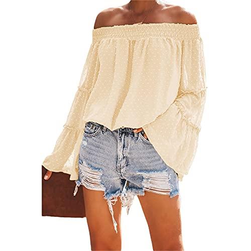 FUNWAVE Blusas de gasa con hombros descubiertos para mujer con volantes y manga larga acampanada de lunares con estampado casual camisetas túnica, albaricoque, XL