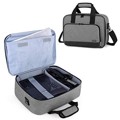 Luxja Borsa per Videoproiettore con Custodia per Laptop, Borsa per BenQ, Optoma, Epson e Acer Proiettore, Custodia per Proiettore e Accessori, 39.4 CM x 28 CM x 13.5 CM, Grigio
