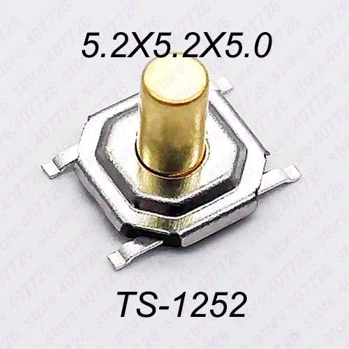 50 unidades de 5,2 x 5,2 x 1,5 mm a 9 mm 4 pines SMT interruptor de pulsador de metal interruptor de tacción, botón de altavoz o botón, Como detalles del producto, 5 mm de alto., 5.2X5.2MM Series SMT