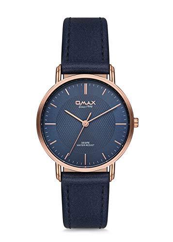 Omax Men's Wristwatch Blue Rosegold Case Blue Leather Strap Japan Movement DX44R44I