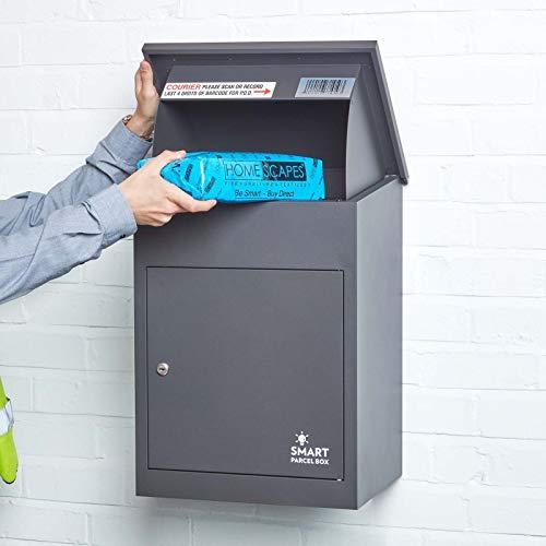 Smart Parcel Box, mittelgroßer Paketbriefkasten mit Paketfach und Briefkasten, sicherer Paketkasten für Zuhause und Unternehmen mit Rückholsperre, für alle Zusteller, 44 x 35 x 58 cm, anthrazit