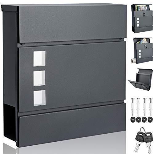 Monzana Design Briefkasten Stahl anthrazit mit Zeitungsfach Sichtfenster 2 Schlüssel Zeitungsrolle Wandbriefkasten