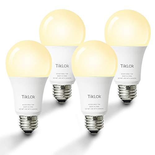 Smart LED Light Bulb, TIKLOK WiFi Dimmable Soft White A19 E26 Bulb,...