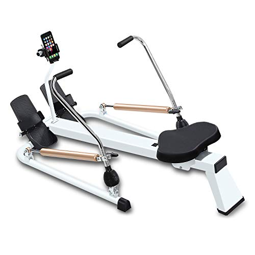 fitbill f.Row Plus Rowing Machine Rower with Workout App, Hydraulic Resistance, Phone Holder and Full Motion Arms