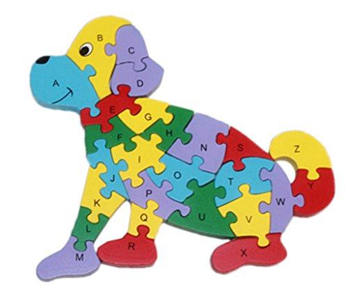 Bigood Jouet Bébé Enfant Puzzle en Bois Alphabet Chiffre Cognition Chien Assis Eveil