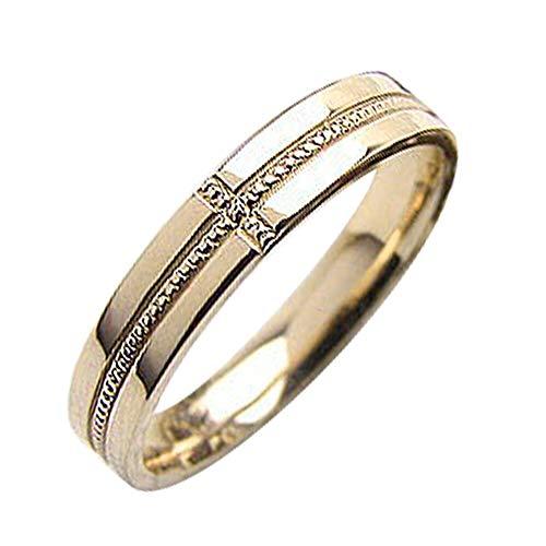 [ジュエリーアイ]Jewelry i 指輪 クロスリング イエローゴールドK18 ミル打ち 結婚指輪 単品 ピンキーリング ギフト 5.5号