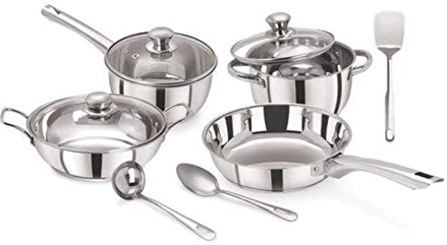 Pristine Tri Ply Induction Base Cooking Essential Stainless Steel Cookware Set 10Pcs Silver