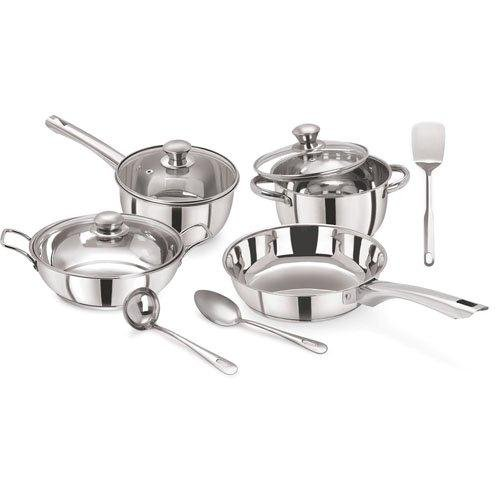 Pristine Tri Ply Induction Base Cooking Essential Stainless Steel Cookware Set, 10Pcs, Silver