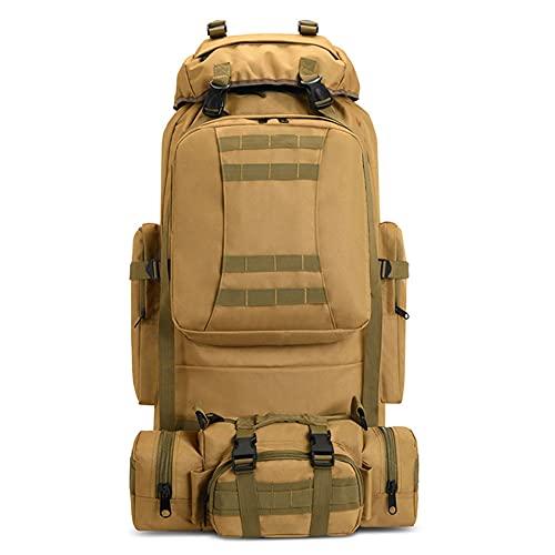 Egurs Mochila de senderismo de 80 l de gran capacidad para acampar, senderismo, táctica militar, impermeable, mochila de viaje al aire libre, camuflaje Molle para hombres y mujeres, amarillo, 80L