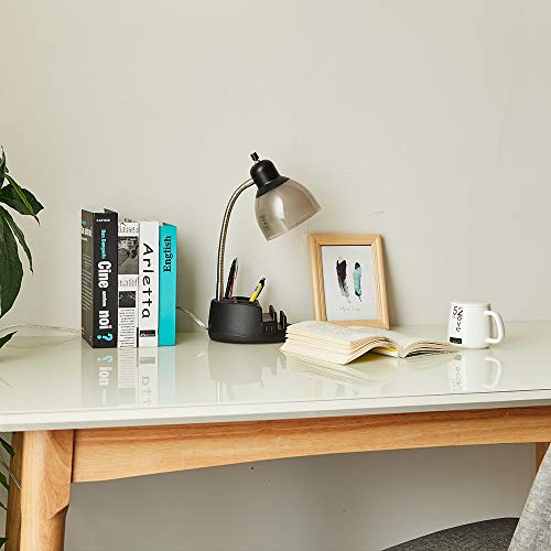 Desk Lamp Organizer, Table Stand Book Gooseneck Organizer Task Lamp with Holder and 2 Power Outlet, Clear Black