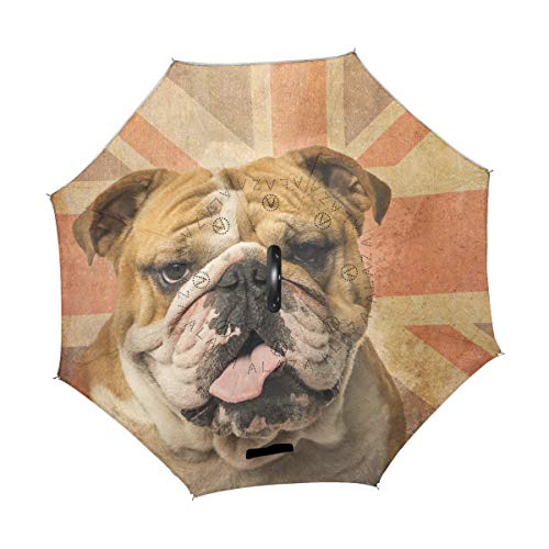 Sale!! TropicalLife Double Layer Inverted Umbrella Bulldog Vintage UK Flag Reverse Umbrella