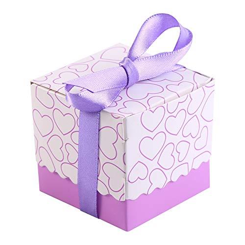 HERCHR 50 Cajas cuadradas para Regalos de Fiesta, Cajas de Dulces de Chocolate con Forma de corazón, Caja de Regalo con Cinta para Boda, cumpleaños, Fiesta de Navidad(Corazón Purpura)