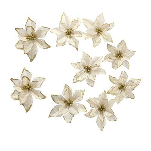 Happyyami 20 piezas de adornos de árbol de navidad de flor de pascua de brillo dorado flor de pascua artificial...