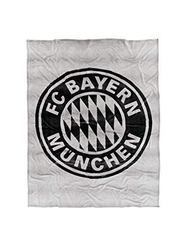 FC Bayern München Kuscheldecke Logo Grau 150 x 200 cm