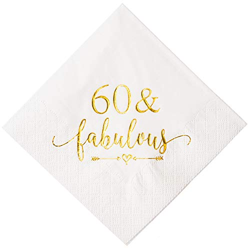 Crisky 60 and Fabulous Cocktail Napkins Gold for Women 60th Birthday Decorations, 60th Birthday Bevergae Dessert Table Supplies, 50Pcs, 3-Ply