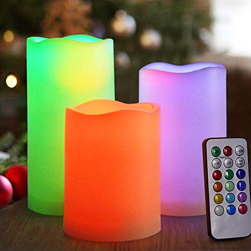 HOME MOST Set of 3 Flickering Flameless LED Pillar Candles with Remote 3x4 3x5 3x6 Multi Colored - Unscented Battery Operated Outdoor Pillar Candles Waterproof Bulk - Color Changing Candles