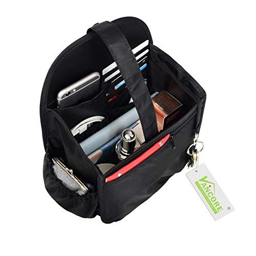 VANCORE Backpack Organizer Insert Travel Diaper Purse Organizer Waterproof Black Small