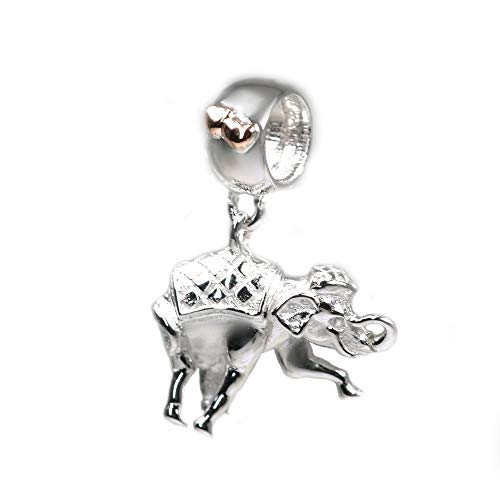 Clogau Womens Silver and 9ct Rose Welsh Gold Elephant Dangle Milestones Bead Charm