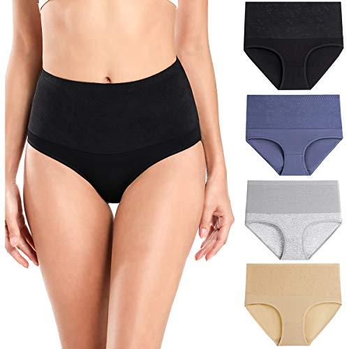 wirarpa Bauchweg Unterwäsche Damen Bauch Weg Unterhosen Baumwolle Slips 4er Pack Grau Größe L