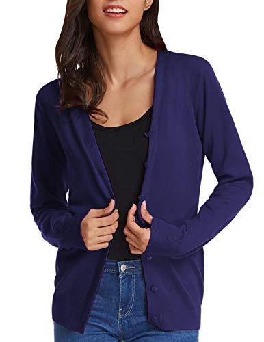 GRACE KARIN Women Button Down V-Neck Long Sleeve Soft Knit Cardigan Sweater (S,Navy)