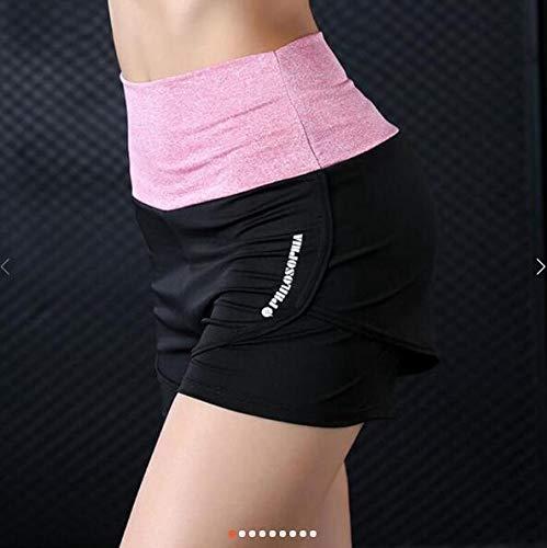 No-Branded WZGGZWGG Frauen Fitness Yoga High Waist Shorts Fälschung Zwei Pcs Laufsport Schlank Sportkleidung Kurz for Laufsport (Color : Rosa, Size : XXXL)