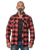 ROCK-IT Apparel® Camisa de Franela para Hombres Manga Larga Camisa de leñador Camisa de Cuadros Camisa Casual Premium Camisa de Cuadros S-5XL Hecho en Europa Negro/Rojo 3XL