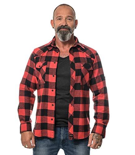 ROCK-IT Apparel® Camisa de Franela para Hombres Manga Larga Camisa de leñador Camisa de Cuadros Camisa Casual Premium Camisa de Cuadros S-5XL Hecha en Europa Negro/Rojo XXL