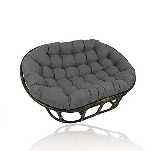 YHWL Cuscino Appeso Papasan Cuscino per Sedia a Uovo, Cuscino per Sedia da Giardino Cuscino Cuscini da Sedia Esterno Doppio Cuscino Papasan con Cinturino Fisso (Nessuna Sedia),Grigio,90×130cm