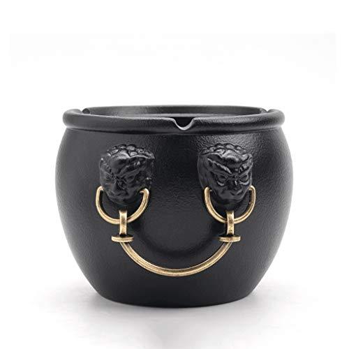 Zaza Ashtray cigar Cornucopia-shaped Ashtray Large-caliber Ceramic Ash Tray Forbidden City Lucky Jar-shaped Ash Holder Desktop Ornaments -4 Colors ashtray indoor (Color : Black)