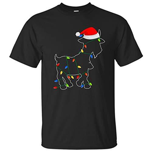 Bee-Viral Goat Tshirt for Men Women Cute Goat Santa Hat Xmas Led Lights Farmers Ugly Unisex T-Shirt (Black - S)