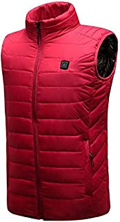 Heated Down Vest,Smart Electric USB Wipes - for Outdoor Travel Camping Bike Skiing,(Color:Red,Size:L)