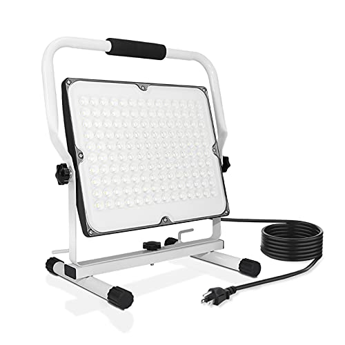100W LED Work Light, 10000LM Portable Flood Light with Stand, IP66 Waterproof Job Site Worklight, 16ft/5m Cord with Plug Outdoor Working Lighting 6000K Daylight for Workshop, Garage, Construction Site