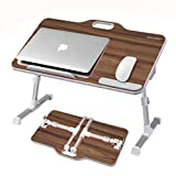Laptop Desk Stand, Kavalan Portable Laptop Bed Tray Table with Top Handle, Height & Angle Adjustable Sit and Stand Desk, Foldable Bed Desk Reading on Couch – Black Teak/Large Size